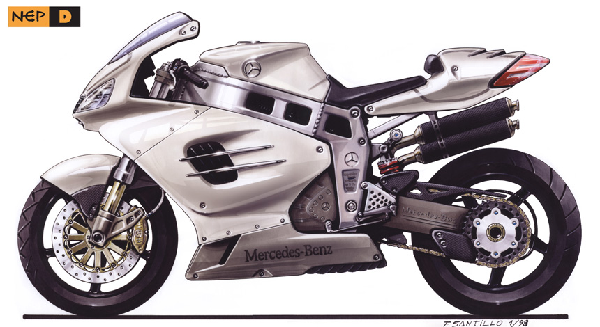 Side rendering Mercedes Motorcycle.