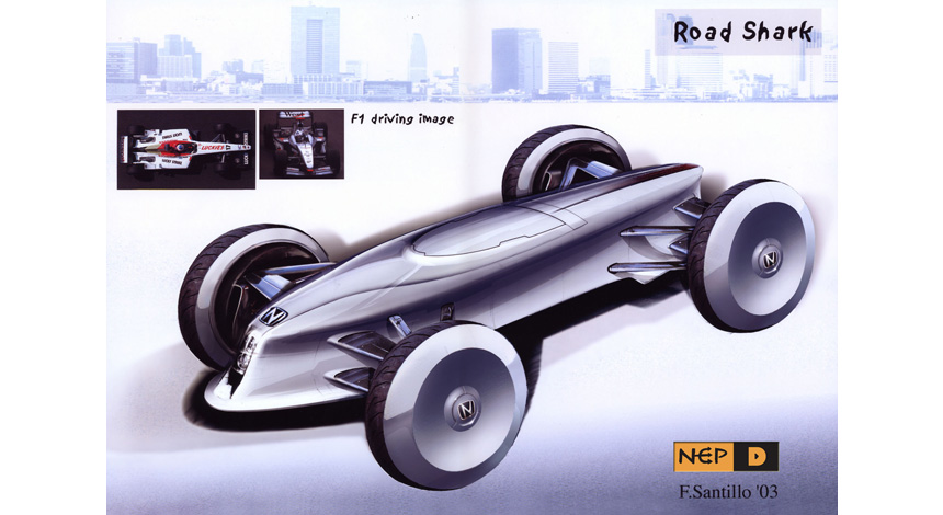 Front 3Q rendering light sport car F1 image.