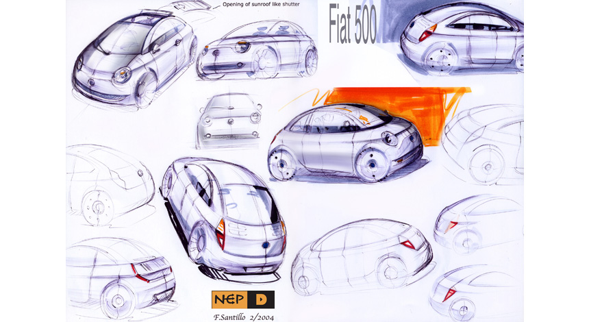 Sketches 1 for Fiat 500.
