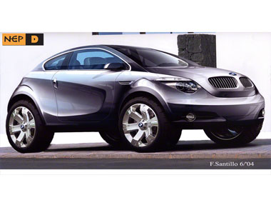 Front 3Q view rendering BMW X1 coupe