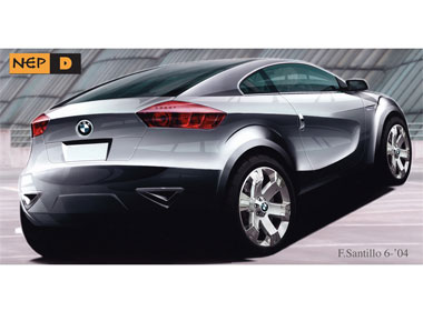 Rear 3Q view rendering BMW X1 coupe